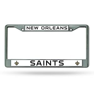 New Orleans Saints WHITE Metal Chrome License Plate Frame Auto Truck Car