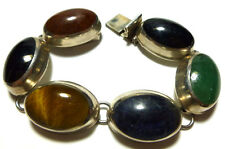VINTAGE MEXICO MEXICAN STERLING SILVER TIGERS EYE ONYX GEMSTONE PANEL BRACELET