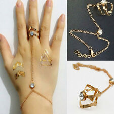 Fashion Women Rhinestone Crystal Gold Chain Ring Bracelet Punk Jewelry