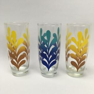 3 Piece Retro Funky Drinks Glasses Glass 1980s Summer Tea Tall Yellow Red Blue