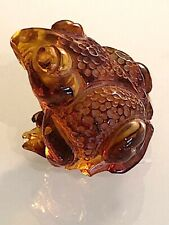 More details for carved amber small frog figurine ornament. sweet.