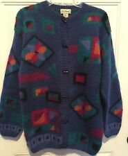 Vtg LL BEAN Toggle Sweater Jacket Cardigan sz M Mohair Wool Blend Royal Multi