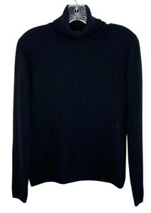 Harold's small 100% cashmere sweater black turtleneck long sleeve fuzzy soft