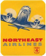 Northeast Airways   Airlines  1950's Vintage-Looking Travel Sticker  Decal Label