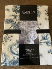"""Ralph Lauren Tablecloth French Toile Floral Blue & White Size 60""""x 104"""""""