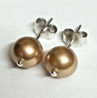 Gemstone Pearl Ear Stud  925 Sterling Silver, Color Golden Brown For Women Wear