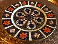 """Royal Crown Derby Old Imari 1128 Dessert Plate  8.5""""  puce pink back stamp"""