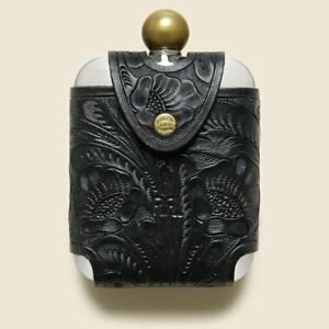RRL Ralph Lauren Tooled Leather Sleeve Stainless Steel Liquor Hip Flask