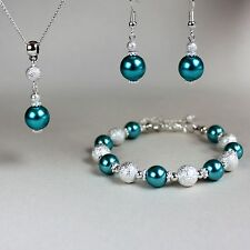 Teal blue green pearl necklace bracelet earrings silver wedding jewellery set