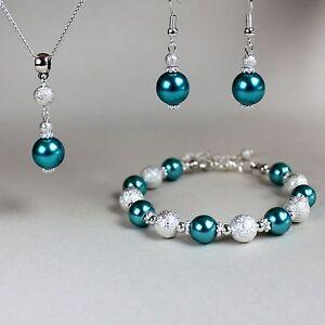 Teal blue green pearl necklace bracelet earrings silver wedding jewellery set