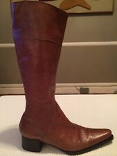 Women's VIC MATIE Tall Brown Leather Boots Size Euro 40 US Fits 9-91/2