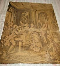 Tapestry Vintage European Old World Wall Hanging Needlepoint Textile Weaving