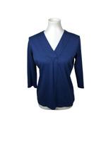 L.L Bean Women's Size S Blue 100% Supima Cotton Knit Top V-Neck 3/4 Sleeve
