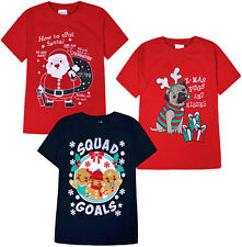 Girls Boys Christmas T shirts Kids Xmas Top Cotton Red Navy Ages 2 3 4 5 6 Years