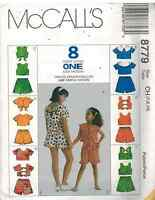 8779 UNCUT McCalls Sewing Pattern Girls Tops Pull on Shorts Summer Spring OOP FF