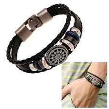 Men's Titanium Steel Woven Leather Wrap Bracelet Infinity Charm Buckle Wristband