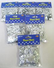 6 X Beistle Fanci-Fetti Mylar SILVER STAR Stars Confetti Party Decor, 1 oz, 28g