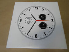 Route 66 Double Gauge Wall Clock Official Licensed Route 66 Metal Frame White