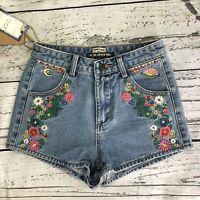 Top Trends Womens Denim Wear High Waist Shorts Embroidered Flowers Size 25  1401