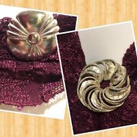 Lot Of Two Vintage Silver Tone Brooch And Scarf Clip