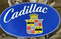 VINTAGE CADILLAC PORCELAIN METAL SIGN USA GM AUTO OIL GAS SERVICE STATION LUBE