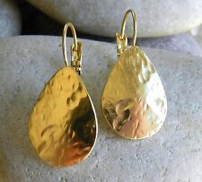 Yellow Gold 24k Plated Teardrop Shape Dangle Earrings Designer Hammered Effect