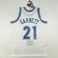 Autographed/Signed KEVIN GARNETT Wolves White Mitchell Ness Jersey Fanatics COA