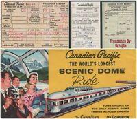 Canadian Pacific Railway Railroad Train Ticket & Envelope Dome Car Ride 1967