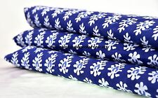 10 Yards Paisley Print Handmade Indian Cotton Fabric Natural Vegetable Blue Dye