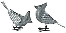 "Galvanized Metal Cardinal Blue Jay Bird Figure Set/2 Home Decor 10"" x 7"" New"