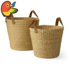 MoDRN Naturals Floppy Seagrass Basket With Leather Handles Round Tapered Set 2