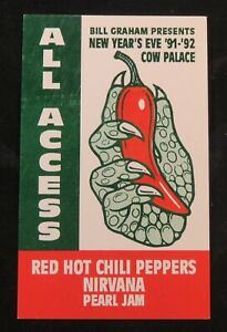 1991 Chili Peppers Nirvana Pearl Jam All Access Pass for Laminate Cobain SF CA