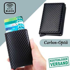 Kartenetui Geldbörse Mini Carbon RFID Block Kreditkarten Schutz Wallet Slim