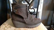 Fly London Yama Oil Sludge Suede Wedge Ankle Boots EU 39/8.5 gray ties ankle