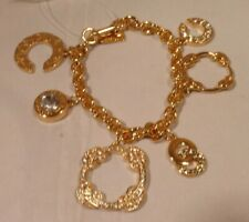 """NEW Authentic COACH Gold Plated 6 Charm 7"""" Bracelet 96388"""