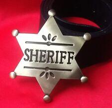 DEPUTY GOLD SHERIFF STAR WILDWEST WESTERN COWBOY FANCY DRESS BUCKLE LEATHER BELT