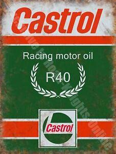 Castrol R Racing Motor Oil, 200 Petrol Old Vintage  Metal/Steel Wall Sign