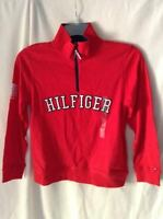 NWT Tommy Hillfiger Boys Long Sleeve Shirt with Zip and Logo Red Size M (12-14Y)