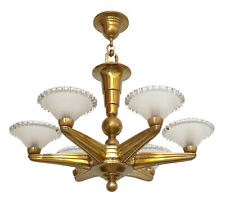 Original Petitot Type Déco Lampe de Plafond Laiton 1920 France Lampe Suspendue