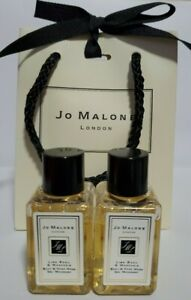 New Jo Malone 2x Lime Basil & Mandarin Body Hand Wash Gel Sample Lot .5 oz 15 ml