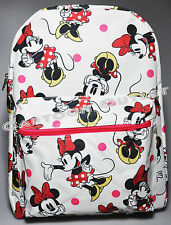 """DISNEY MINNIE MOUSE BACKPACK 16"""" WHITE ALL PRINT CANVAS NWT 100% ORIGINAL SCHOOL"""