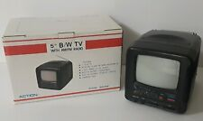 "Vintage 5"" Black White Portable TV AM/FM Radio ACTION ACN-3535 NEW OPEN BOX"