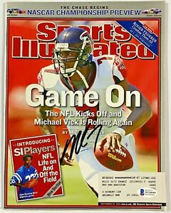 Falcons Michael Vick Signed Sports Illustrated Magazine Beckett BAS Witnessed