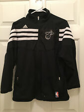 Adidas Youth NBA Miami Heat Black White Logo Full Zip Jacket Medium (10-12)