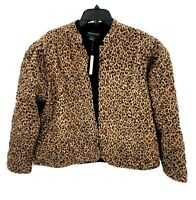 Something Navy Womens XS Leopard Animal Print Reversible Quilted Jacket Coat NWT