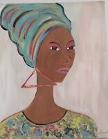 African American Art Woman Island Carribean   Colorful11x14 Poster Oil -Acrylic