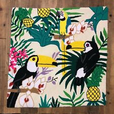 Raw Tapiz Wayuu Needle Point square Tapestry HandMade Parrot toucans Tropical