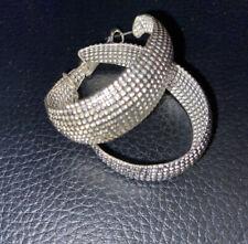 Silver Plated Wide Hoop Earrings