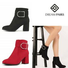 DREAM PAIRS Women's Almond Toe Buckle Zip Ankle Boots High Heel Boots Size 5-11