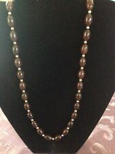 PRETTY STRAND OF CHOCOLATE AND SILVER  BEADS